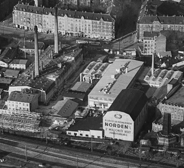 Udsnit af luftfoto fra 1950-54. Kilde: Det Kgl. Bibliotek, foto: Svend Andersen.