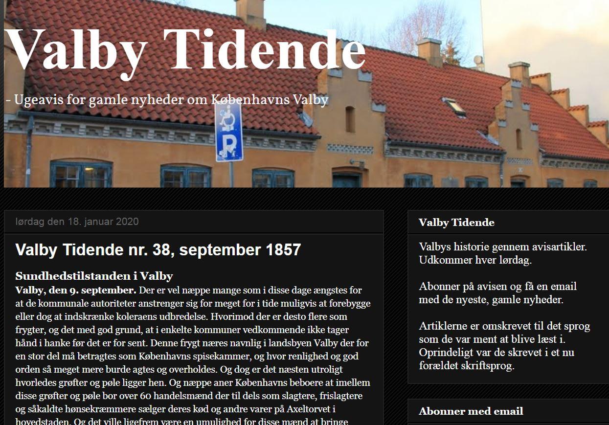 """Skærmbillede fra blog med """"Valby Tidende"""""""