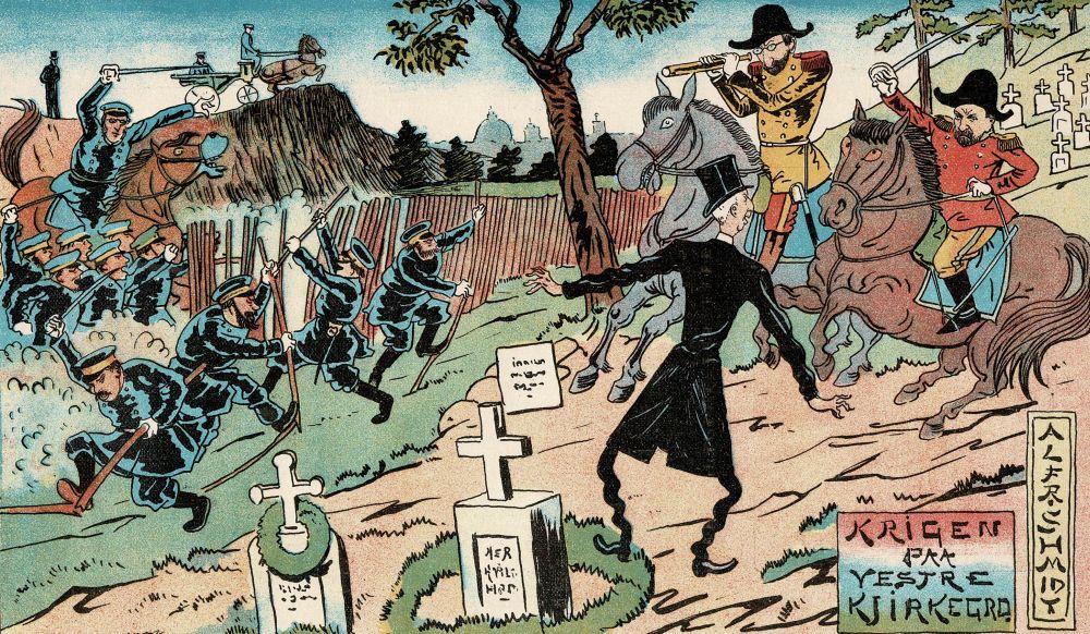 Satiretegning: Krigsskuepladsen på Vestre Kirkegård